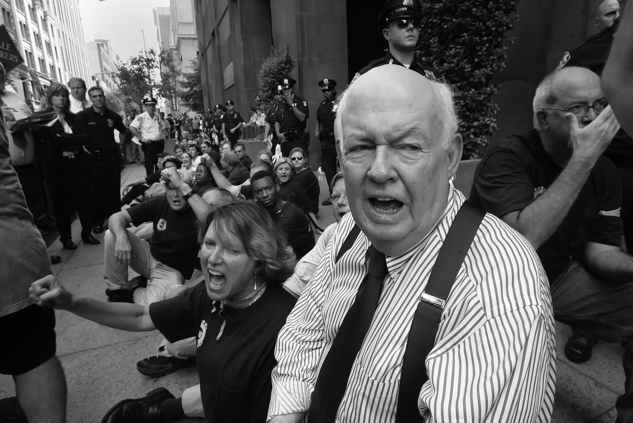 John Sweeney in 2005 at New York University in Manhattan during a protest by graduate assistants in a contract dispute. One of his priorities  was to expand labor's rank-and-file. Credit: James Estrin/The New York Times